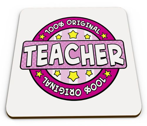 100% Original Teacher Glossy Mug Coaster - Pink (1)